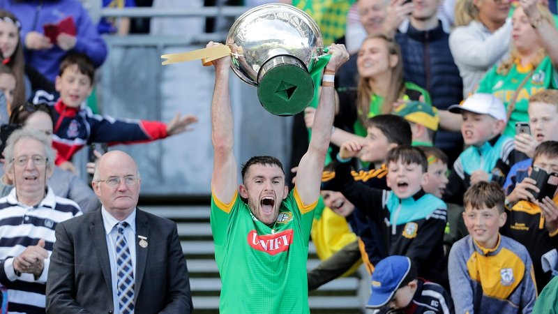 Meath captain Sean Geraghty accepts the Christy Ring Cup at Croke Park