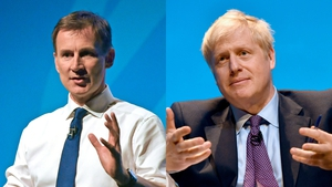 Jeremy Hunt and Boris Johnson at the first party hustings in Birmingham