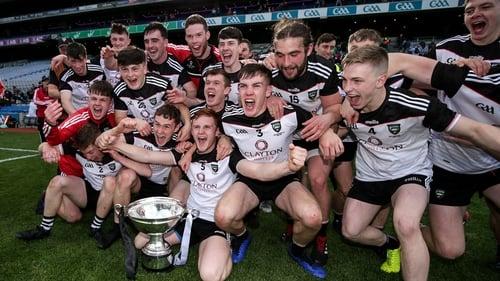 Sligo hurlers celebrate their second straight promotion