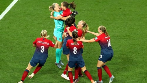 Norway players celebrate their penalty shoot-out victory over Australia
