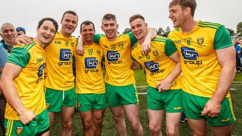Patrick McBrearty (13) celebrates with team-mates