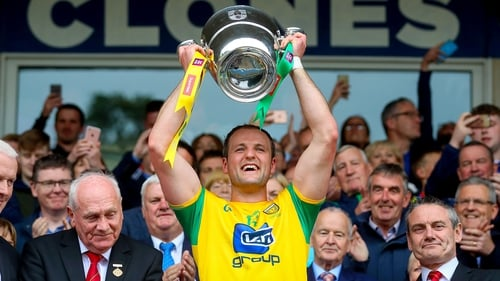 Michael Murphy lifts the Anglo-Celt Cup