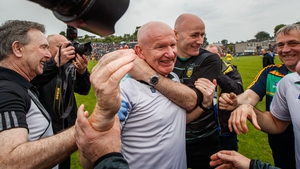 The Donegal manager is mobbed at the final whistle