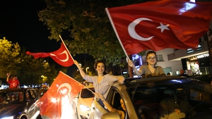 Supporters of opposition candidate Ekrem Imamoglu celebrate in Istanbul