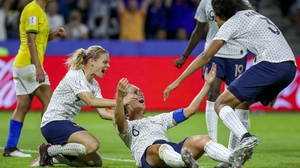 Amandine Henry (C) of France celebrates with her teammates