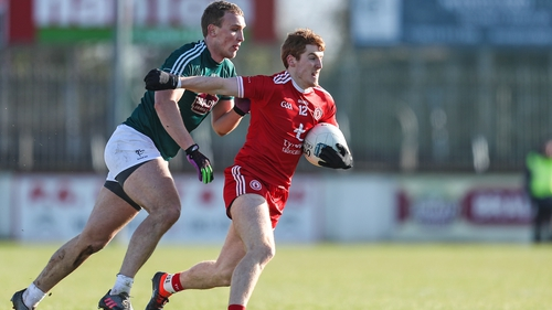 Tyrone's Peter Harte breaks clear of Kildare's Tommy Moolick during a League encounter last year