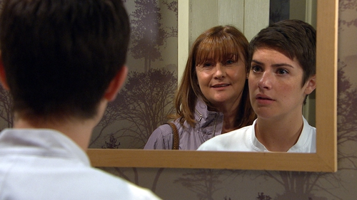 Wendy follows Victoria into the Woolpack toilets on Emmerdale