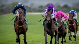 Ryan Moore winning The Irish Stallion Farms EBF Salsabil Stakes on Pink Dogwood at Navan in April