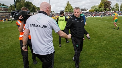 Declan Bonner & Stephen Rochford after Donegal's opening win in Ulster against Fermanagh
