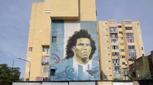 A mural of Carlos Tevez in Fuerte Apache