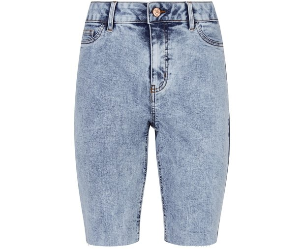 New Look Bright Blue Acid Wash Denim Knee Shorts