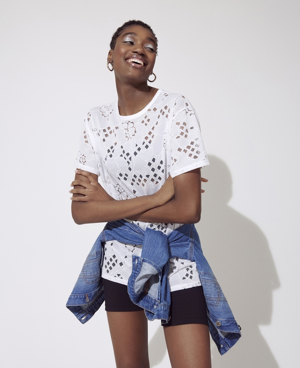 Miss Selfridge White Long Line Burnout T-Shirt; Black Rib Cycling Shorts; Blue Mid Denim Jacket