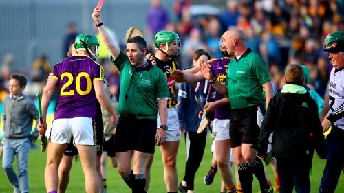 Aidan Nolan was sent off after full-time at Wexford Park