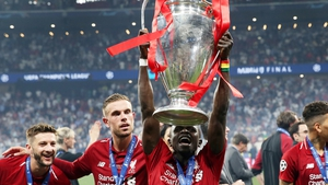 Sadio Mane with the cup
