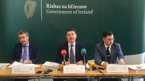 Finance Minister Paschal Donohoe (C) said that a disorderly Brexit is a real possibility at this point in time