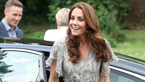 Kate looks cool and casual in green dress and trainers