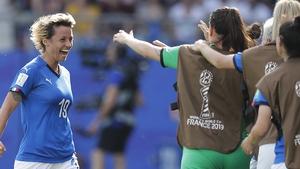 Valentina Giacinti celebrates the opening goal