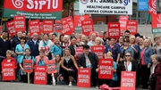 Health support staff on strike outside St James's Hospital in Dublin yesterday