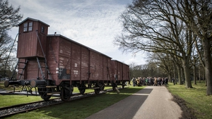 Two original railway boxcars at the WWII Westerbork transit camp in the memorial center in Hooghalen, the Netherlands