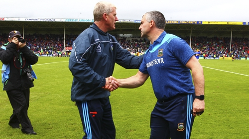 John Kiely and Liam Sheedy after the round-robin game
