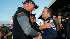 Brian Cody (l) and Davy Fitzgerald in good spirits after the drawn game