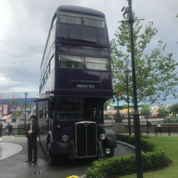 The purple triple decker Knight bus sits a short walk away from King's Cross station (Jemma Crew/PA)