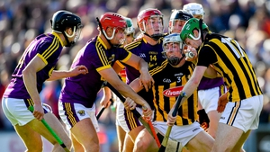 Huw Lawlor of Kilkenny is closed down by a group of Wexford players in the recent drawn Leinster SHC clash