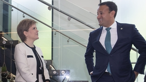 Taoiseach Leo Varadkar and Scottish First Minister Nicola Sturgeon speak after the British Irish Council summit meeting in Manchester