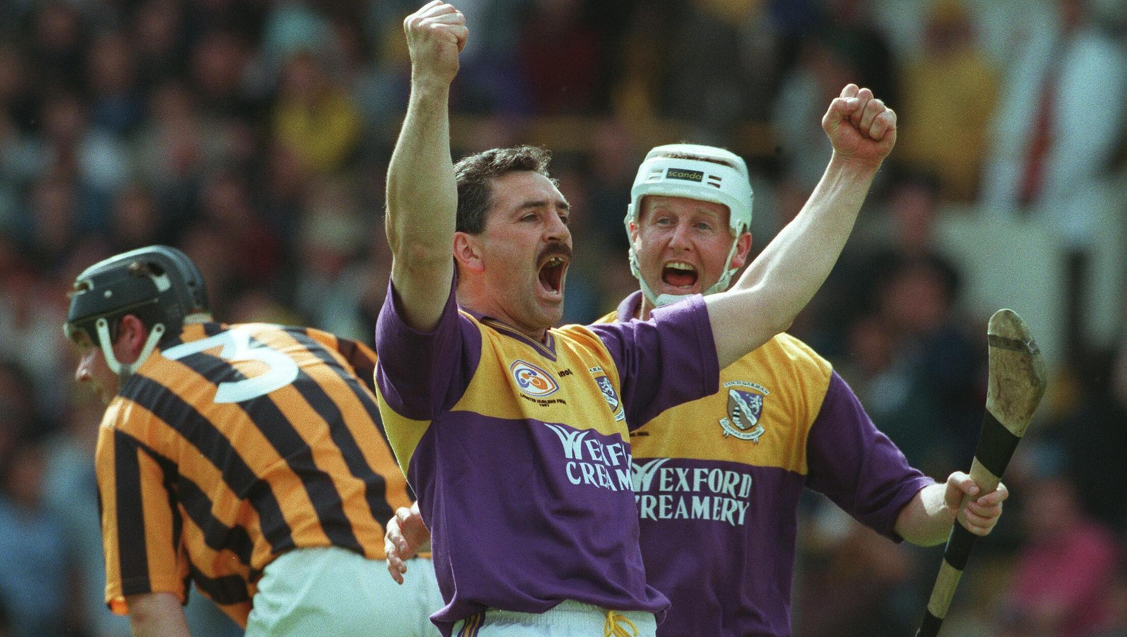 Image - Billy Byrne (L) and Tom Dempsey celebrate Wexford's winning goal in 1997