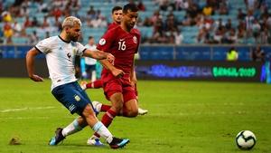 Sergio Aguero scores for Argentina