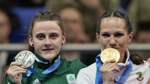 Michaela Walsh with her silver medal alongside Stanimira Petrova