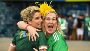Former Ladies Football All-Star Valerie Mulcahy (L) with comedian Katherine Lynch at Croke Park before setting off to join the parade