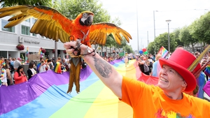 Barbara Doyle, from Coolock, with her macaw Quinn