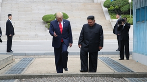 Donald Trump and Kim Jong-un step back over the border into the Demilitarised Zone South Korea