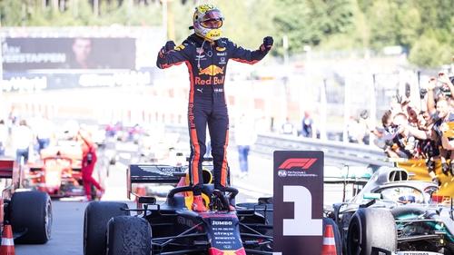Max Verstappen celebrates his win