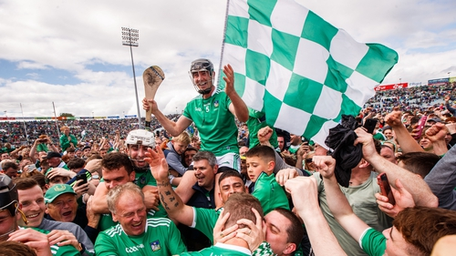 Limerick's Diarmaid Byrnes celebrates with the Limerick fans