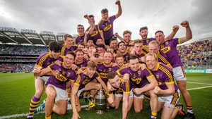 Wexford celebrate with the Bob O'Keeffe Cup