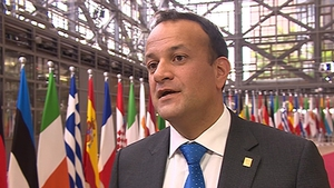 Taoiseach Leo Varadkar speaking to reporters in Brussels this evening