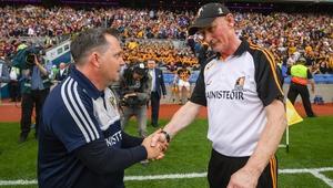 Davy Fitzgerald (L) and Brian Cody shake hands after Wexford's win at Croke Park