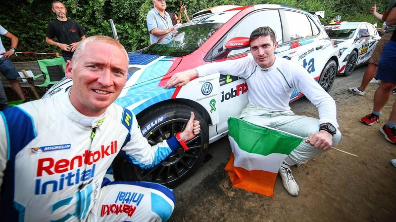 Craig Breen and Paul Nagle after winning Rally Ypres