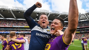 Davy Fitzgerald (L) celebrates with Lee Chin after Wexford's Leinster final triumph