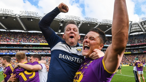 Wexford co-captain Lee Chin (R) and Davy Fitzgerald after the Leinster SHC final win over Kilkenny