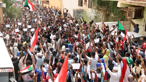 Protesters taking to the streets against the ruling military council in Khartoum