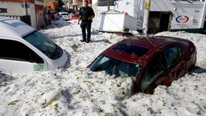 Dozens of vehicles were buried in the ice in Guadalajara