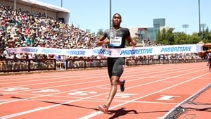 Caster Semenya crosses the line at the Stanford track