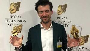 Ciaran O'Conghaile with his awards