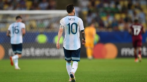 Lionel Messi in action during the quarter-final clash with Venezuela