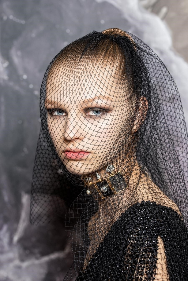 a model backstage at the Dior haute couture autumn/winter 2020 show