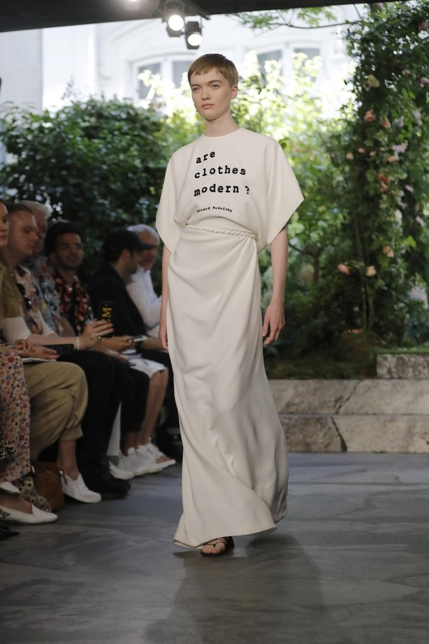 A model wears a creation for the Dior Haute Couture Fall-Winter 2020 fashion collection presented in Paris, Monday, July 1 2019.