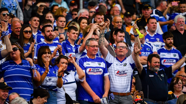 Laois fans celebrating at the Joe McDonagh Cup Final